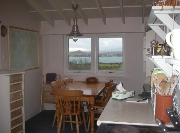 Kitchen showing the view over Balvicar Bay